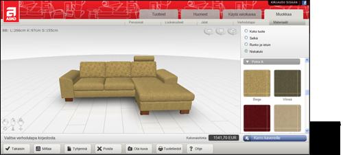 Olohuoneen Sohva : ... 3D-ohjelmalla, miltä sohva näyttää eri kangasvaihtoehdoilla